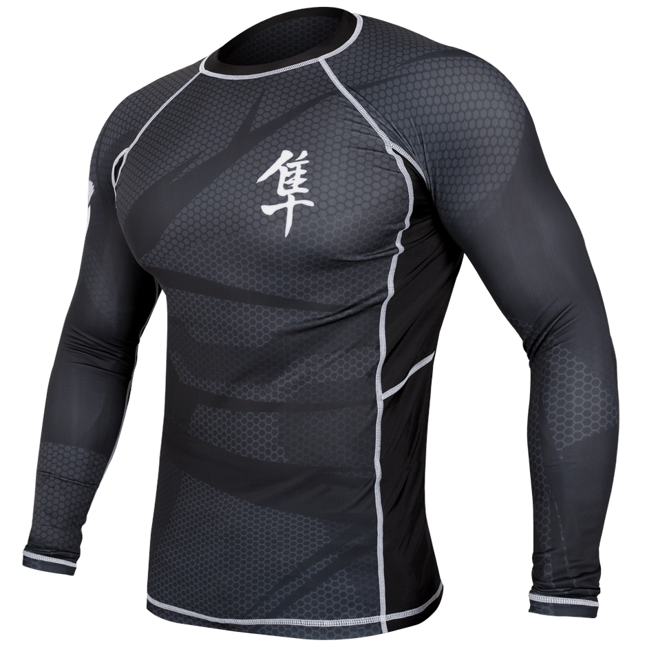 Hayabusa <br> Metaru 47 Silver Rashguard <br> Long Sleeve Black
