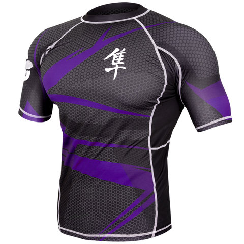 Hayabusa <br> Metaru 47 Silver Rashguard <br> Short Sleeve Purple