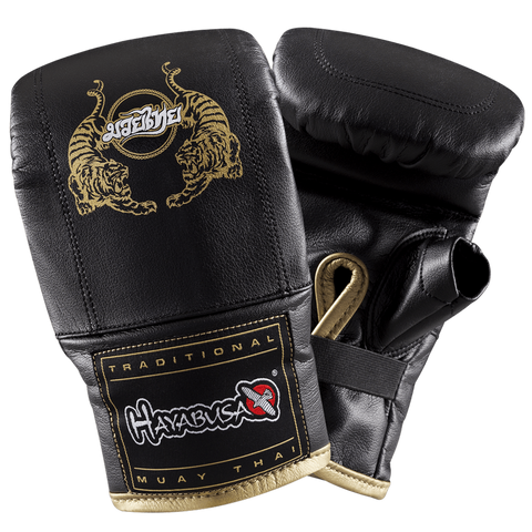 Hayabusa <br> Muay Thai Bag Gloves <br> Black and Gold