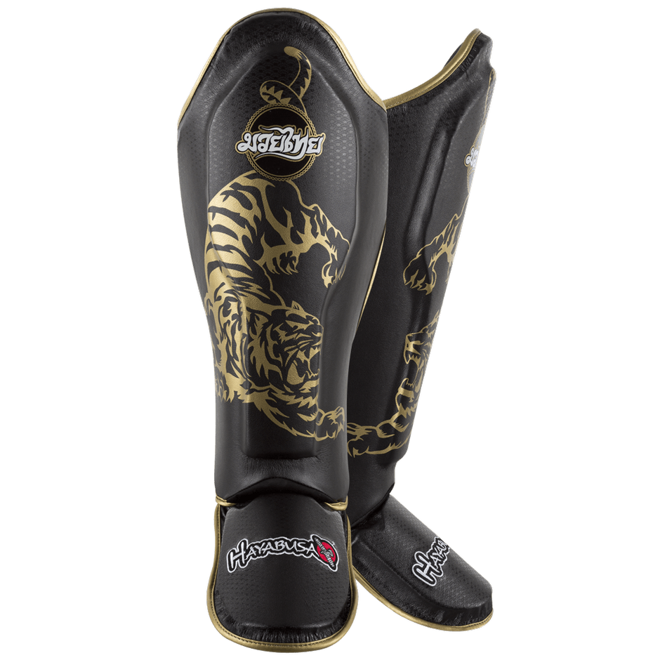 Hayabusa <br> Muay Thai Shinguards <br> Black and Gold