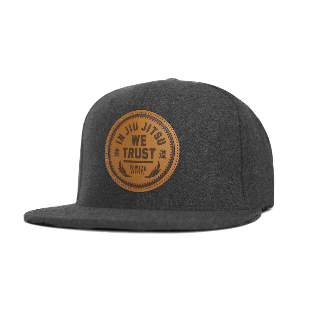Newaza Apparel <br> Leather Patch Trust Hat <br> Heather Gray Wool