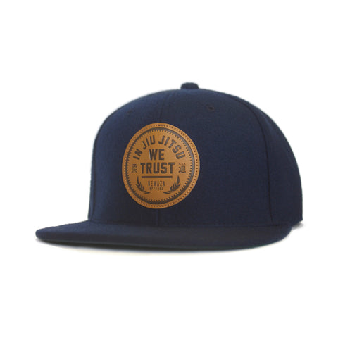 Newaza Apparel <br> Leather Patch Trust Hat <br> Navy Blue Wool