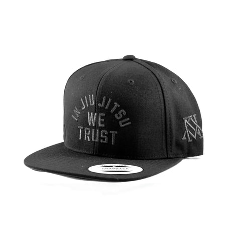 Newaza Apparel <br> In Jiu Jitsu We Trust Hat <br> Metallic Black on Black