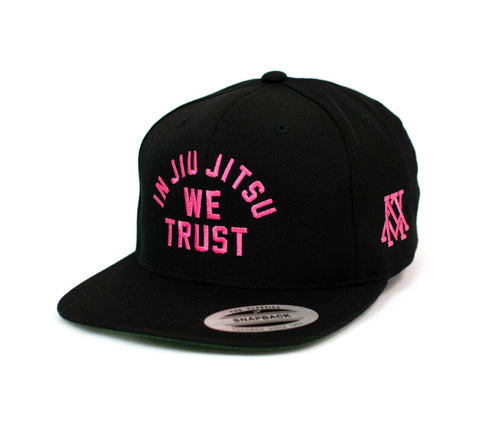 Newaza Apparel <br> In Jiu Jitsu We Trust Hat <br> Pink on Black
