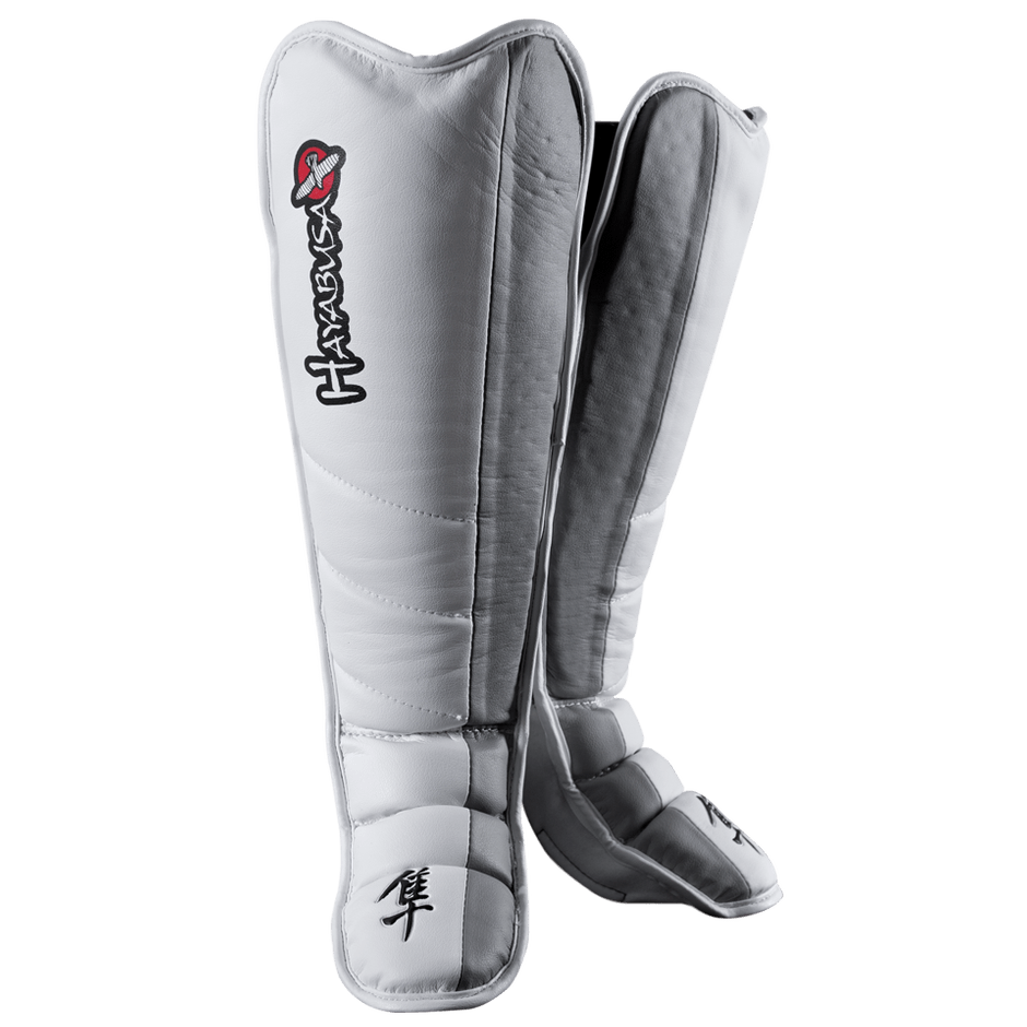 Hayabusa Tokushu Grappling Shinguards  White/Slate Grey