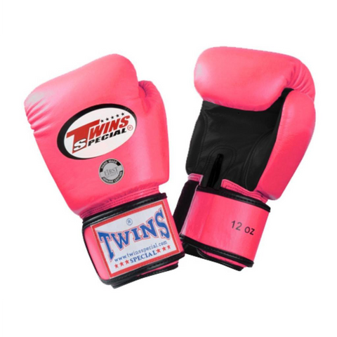 Twins Special <br> Leather Gloves with Velcro <br> Pink/Black