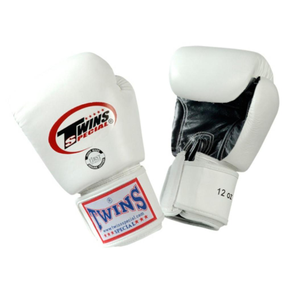 Twins Special <br> Leather Gloves with Velcro <br> White/Black