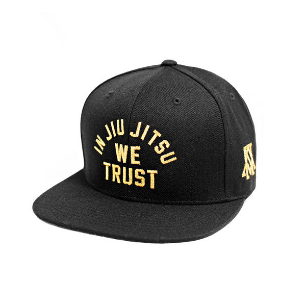 Newaza Apparel<br> In Jiu Jitsu We Trust Hat<br> Metallic Gold