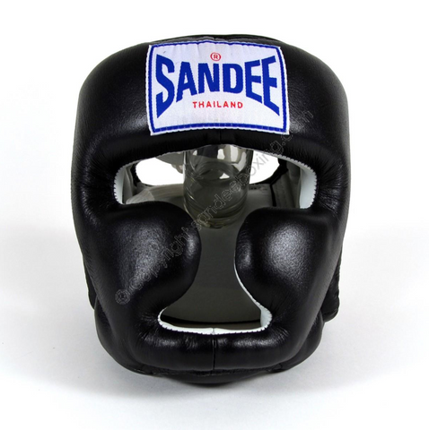 Sandee <br> Closed Face Leather Head Guard <br> Black & White