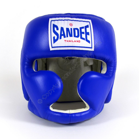 Sandee <br> Closed Face Leather Head Guard <br> Blue & White