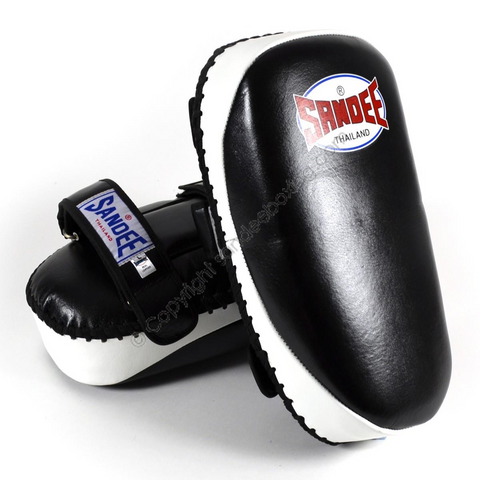 Sandee <br> Curved Thai Leather Kick Pads <br> Black & White