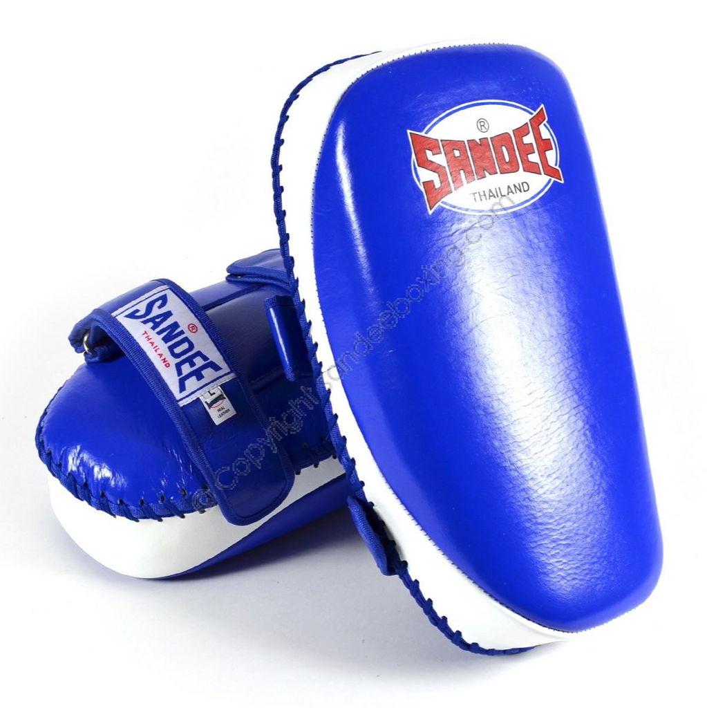 Sandee <br> Curved Thai Leather Kick Pads <br> Blue & White