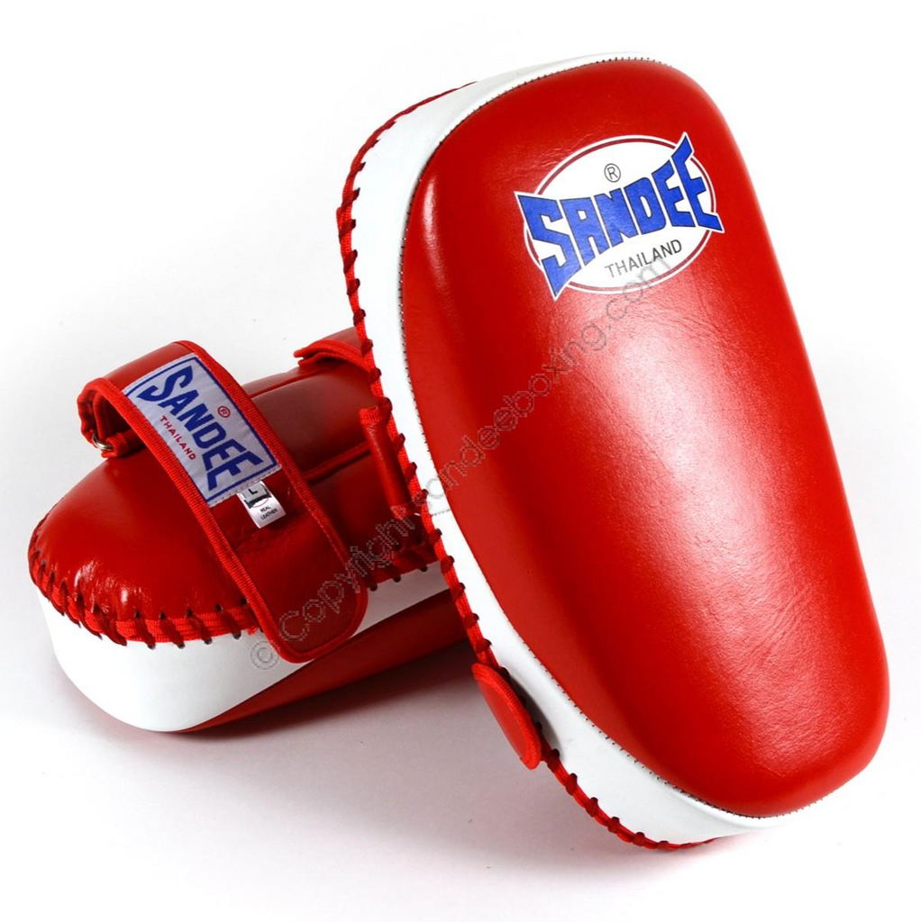 Sandee <br> Curved Thai Leather Kick Pads <br> Red & White