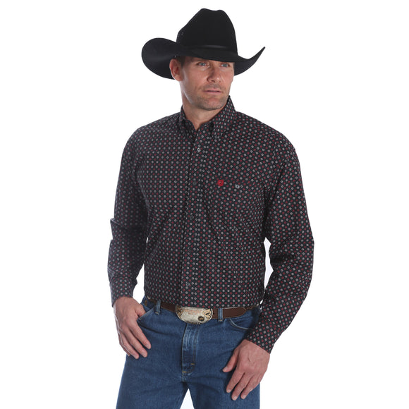 Wrangler Men's George Strait Print Shirt Black