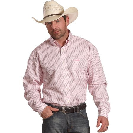 Wrangler Men's Logo1 Shirt Pink/White