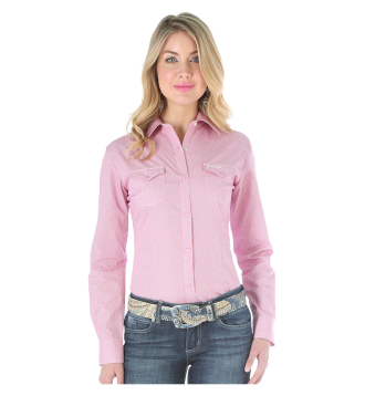 Wrangler Ladies Pink White Shirt