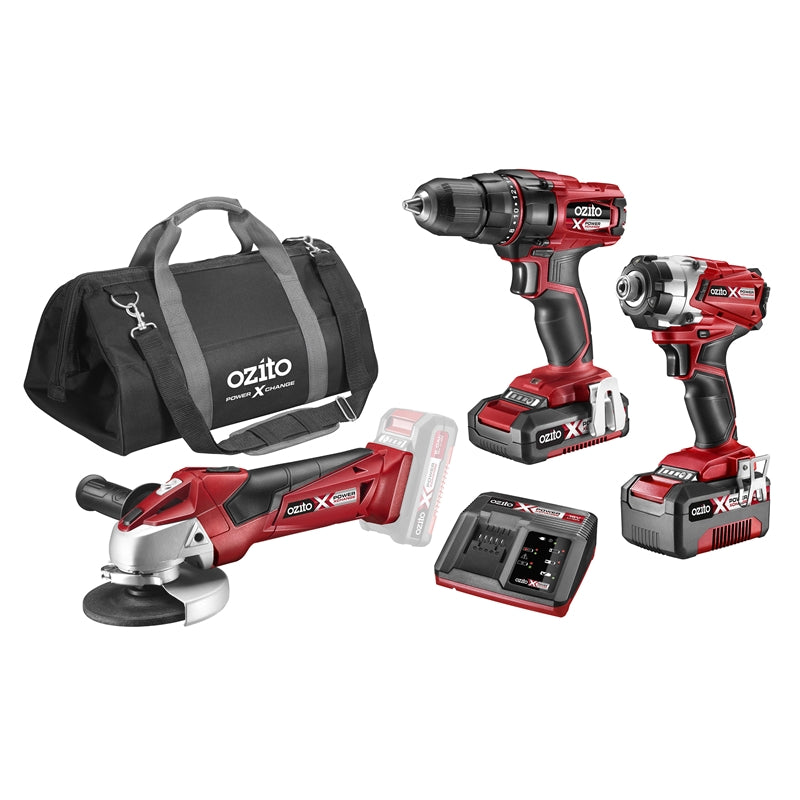 Ozito PXC 18V Drill Impact Driver And Angle Grinder Kit  ສະຫວ່ານ   (A3)
