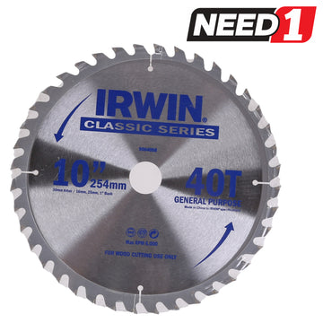 IRWIN Wood Cutting Mitre Saw Blade 254mm x 40T with 30mm Arbor