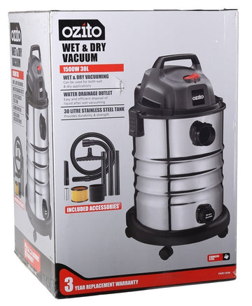 Ozito 1500W 30L Stainless Wet And Dry Vacuum