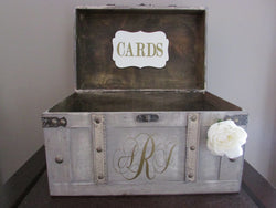 Vintage Wedding Card Box, Rustic Wedding Card Box, Large Vintage Trunk Wedding Box with Custom Wedding Monogram