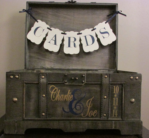 Extra Large Rustic Wedding Card Box, Vintage Rustic Trunk Wedding Box with Custom Color Banner, Names, and Date D1D