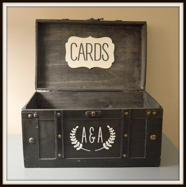 Large Black Wedding Card Box with Custom Initials in Ivory - An Artsy Affair