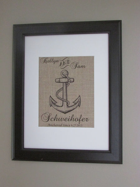 Burlap Nautical Family Print, Burlap Wedding Anchor Print, Burlap Family Established Print, Burlap Wall Art, Wedding Gift Idea