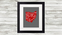State of Ohio Print - All Because Two People Fell in Love - Red and Grey - An Artsy Affair