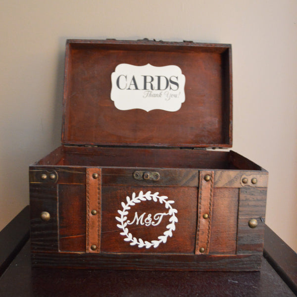 Large Brown Rustic Wedding Card Box Holder with Custom Initials - An Artsy Affair