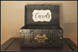 Medium Black Wedding Card Box with Last Name and Year in Gold - An Artsy Affair
