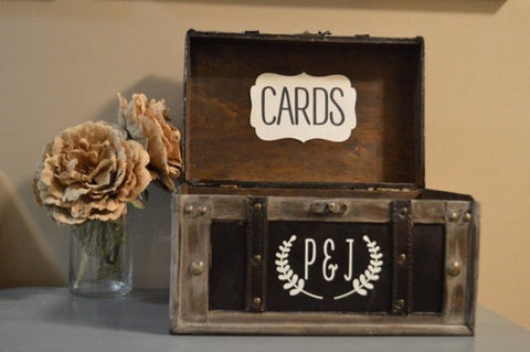 Large Rustic Wedding Card Box Holder with Initials in Ivory - An Artsy Affair