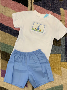 Easter Smocked Light Blue Boy Outfit