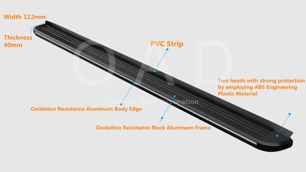Black Aluminum Side Steps Running Board For Hyundai Santa Fe 2019- model #LP