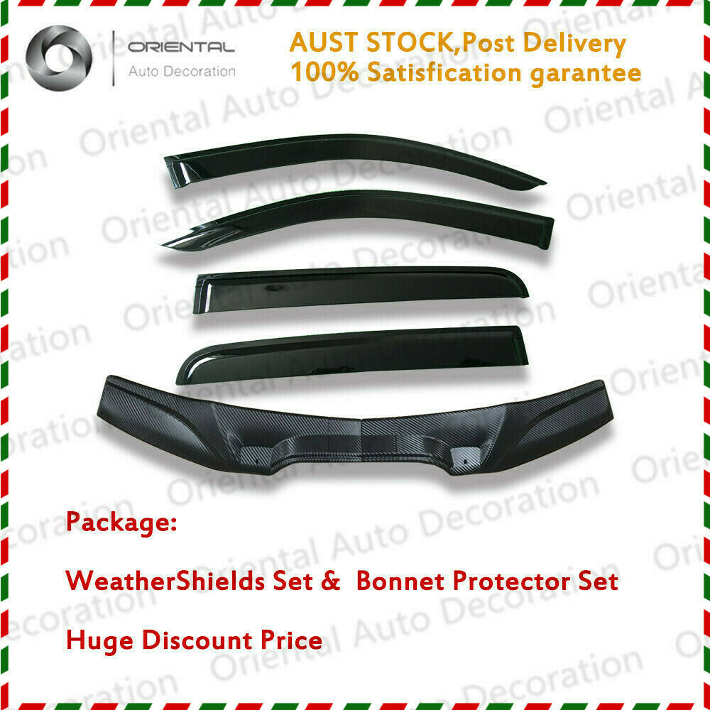 Two-Piece Bonnet Protector & Weathershield Weather Shields Window Visor for Toyota Hilux dual cab 11-15 #S