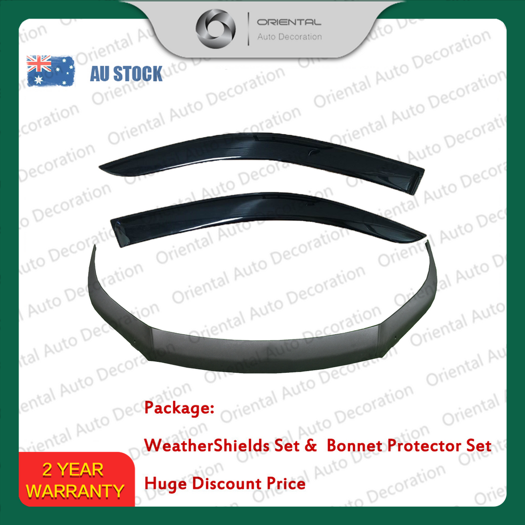 Three-Piece Bonnet Protector & Weathershield Weather Shields Window Visor for Toyota  Hilux single / extra cab 15+ #S