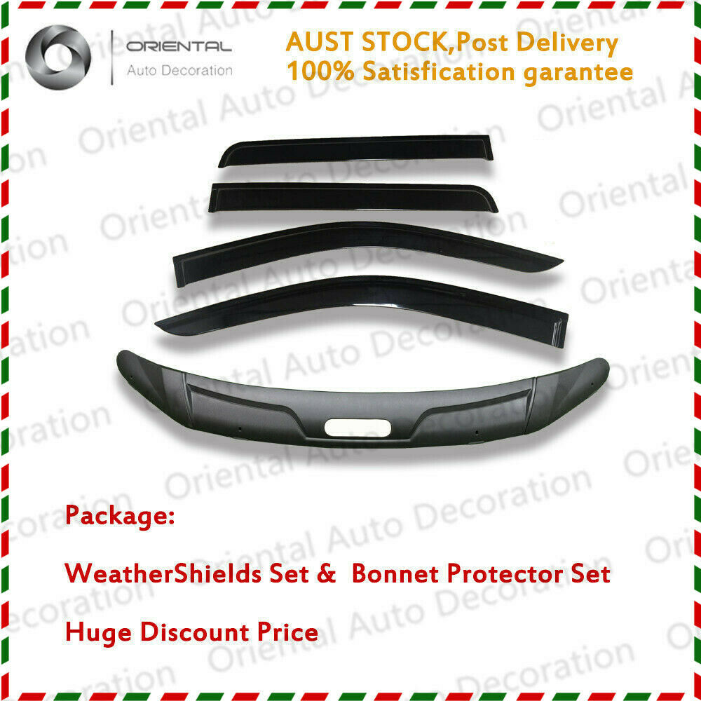 Three-Piece Bonnet Protector & Weathershield Weather Shields Window Visor for Nissan NP300 D23 Dual Cab 15-20 #S