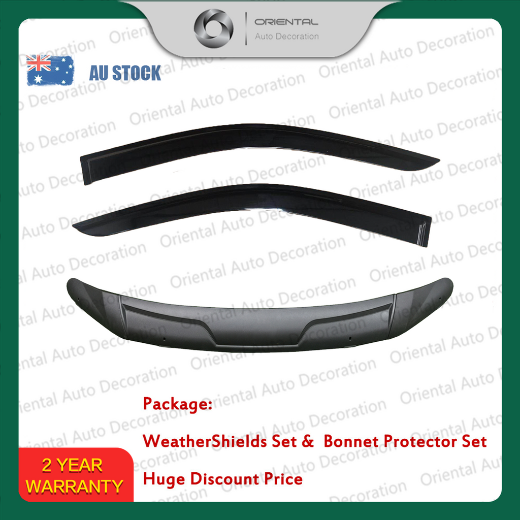 Three-Piece Bonnet Protector & Weathershield Weather Shields Window Visor for Nissan NP300 D23 Single / Extra Cab 15- #S