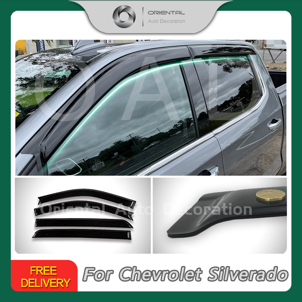 Luxury Weather Shields Weathershields Window Visor For Chevrolet Silverado 2018+ #T
