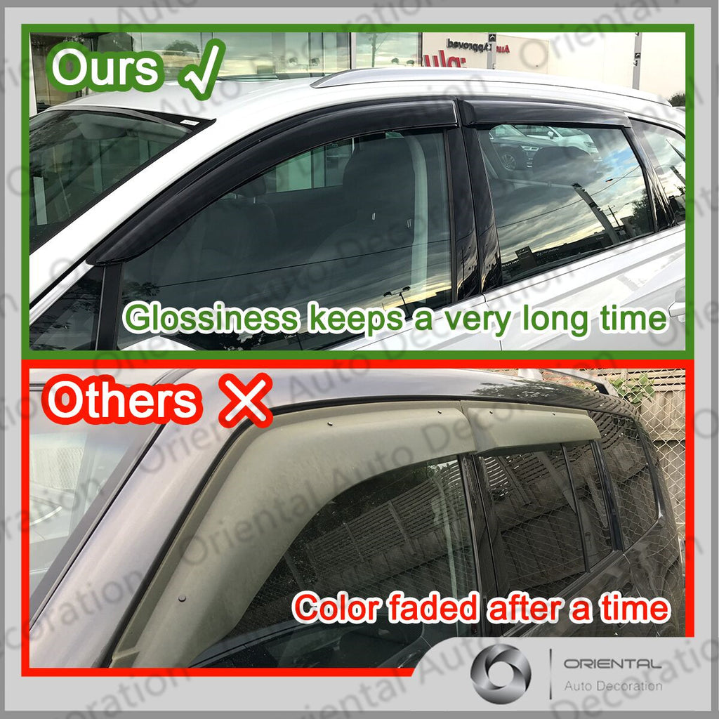 Premium Weather Shields Window Visors Weathershields for Toyota Hilux single cab 05-15 with Flat Mirror