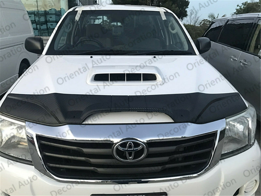 Two-Piece Bonnet Protector & Weathershield Weather Shields Window Visor for Toyota Hilux single / extra cab 11-15 Flat Mirror