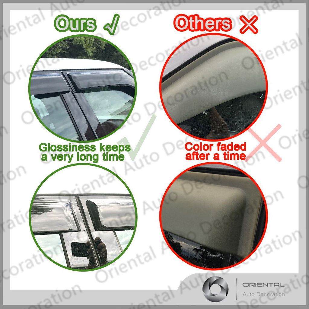 Premium Weathershields Weather Shields for Toyota Hilux Extra Cab 05-15 4pcs Flat Mirror model