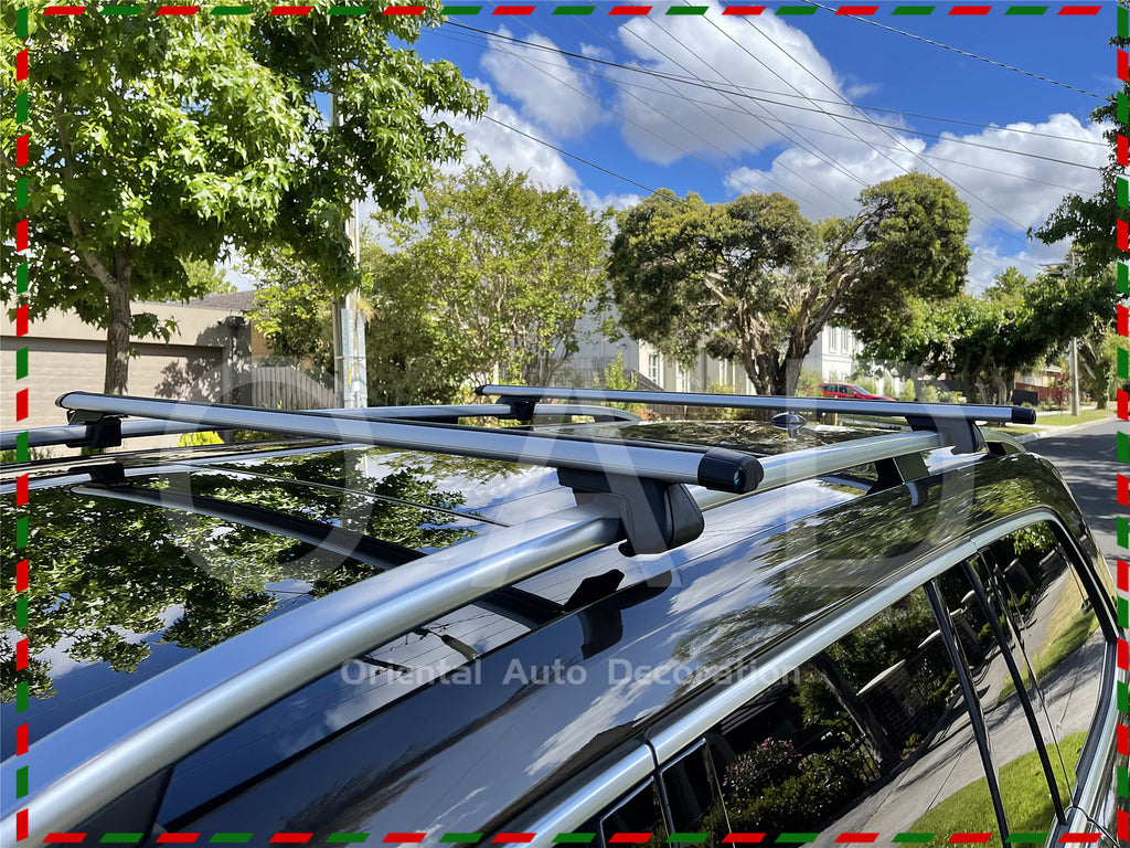 1 Pair Aluminum Silver Cross Bar Roof Racks Baggage holder for Ford Ranger dual cab 08-11 with raised roof rail