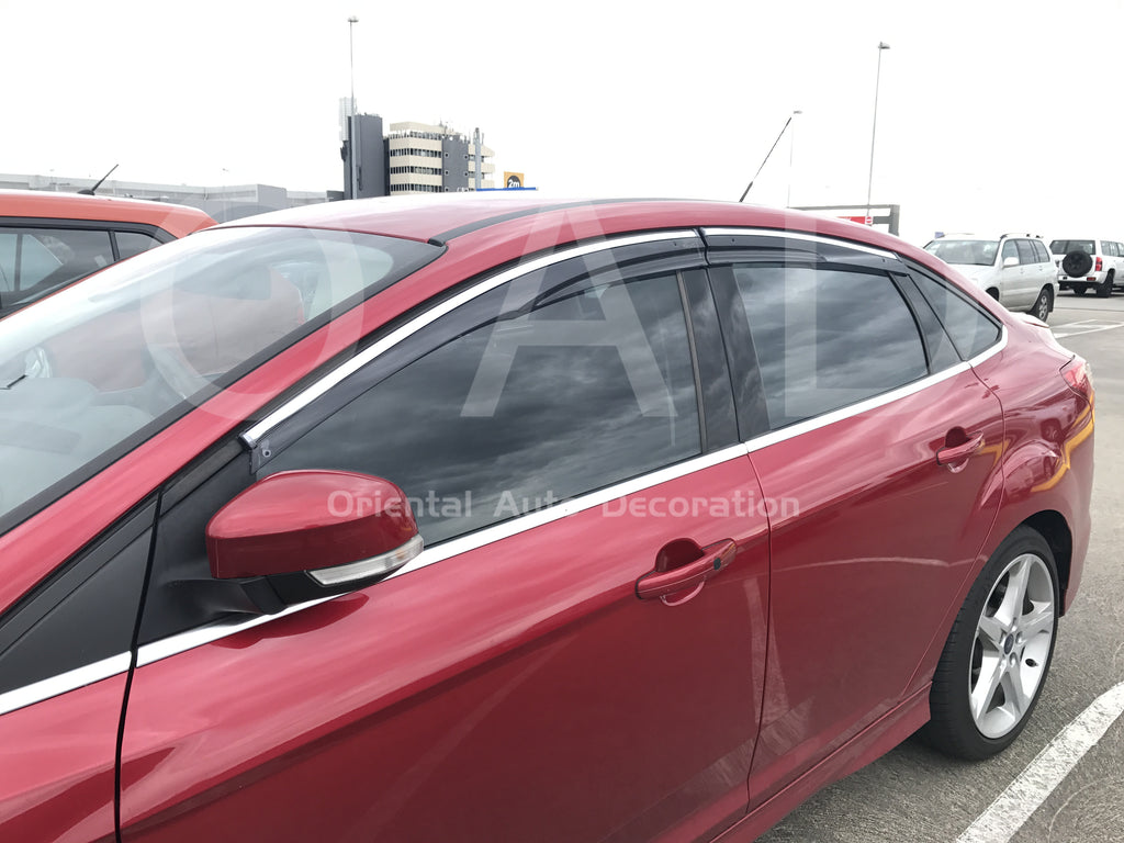 Injection weather shields Weathershields Window Visor for Ford Focus sedan 11-18 T Chrome