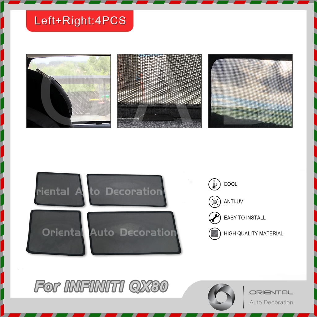 4 pcs set Foldable Magnetic Car window Screen Mesh Sun Shade Sun Shades fit INFINITI QX80 Z62 15-19 #SY