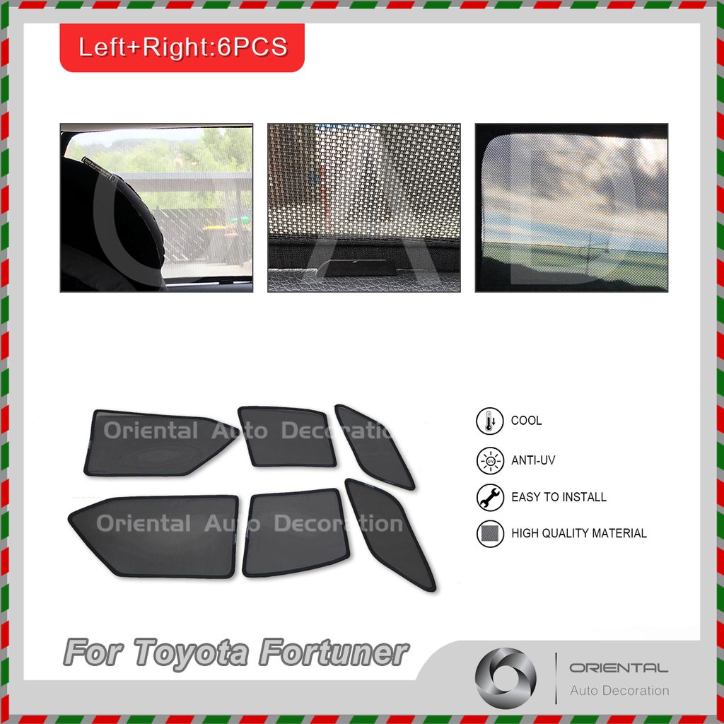 6pcs set Foldable Magnetic Car window Screen Mesh Sun Shade Sun Shades for Toyota Fortuner 2015+ #SY