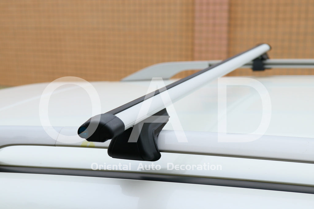 1 Pair Aluminum Silver Cross Bar Roof Racks Baggage holder for Volkswagen Caddy Maxi 05-20 with raised roof rail
