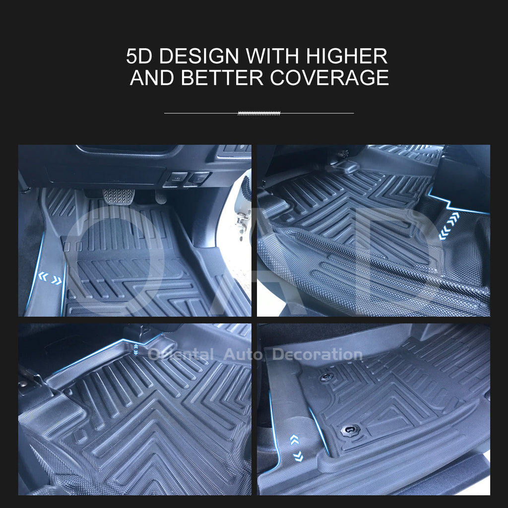 Tailored TPE 5D Door Sill Covered Floor mat Liner & 3D cargo mat for Toyota Prado 150 7 seats 09-20