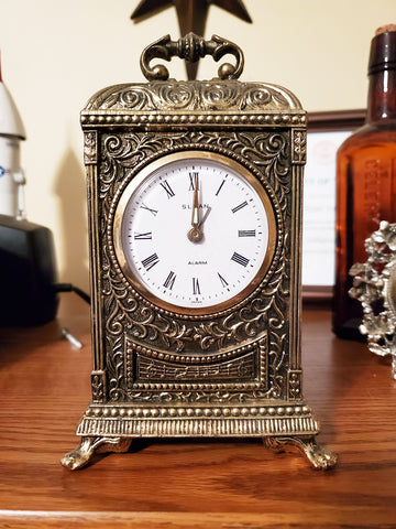 Vintage Sloan Bronze Metal Vintage Alarm Clock. Made in Japan.