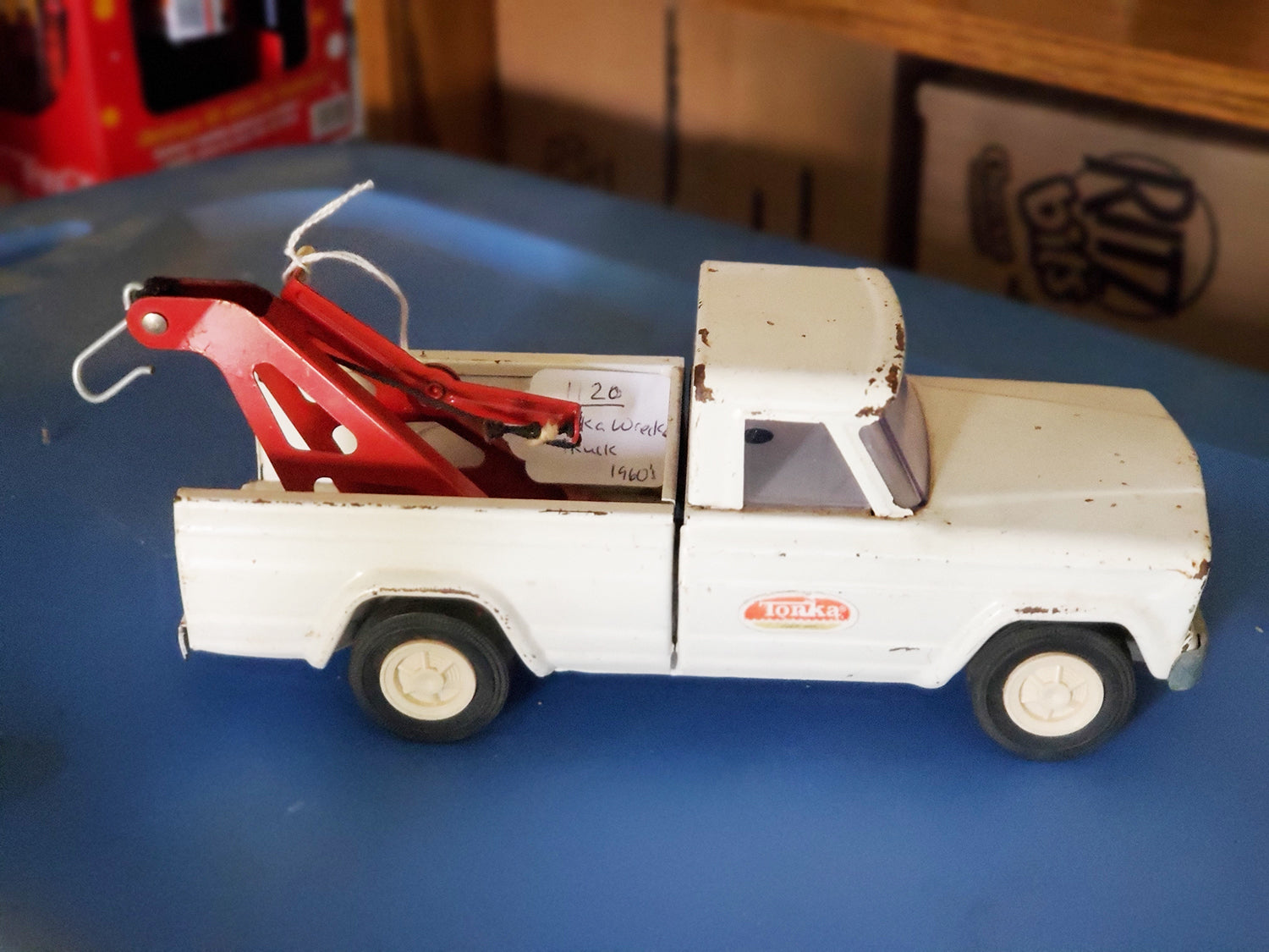 VINTAGE 1960's TONKA Jeep Pickup Tow Truck Wrecker. Pressed Steel