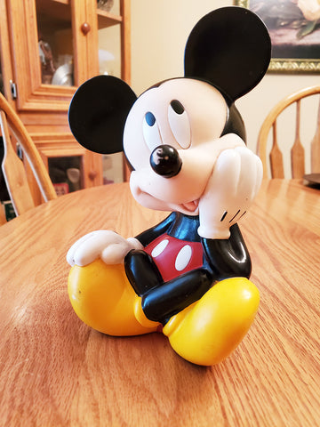 "Vintage Mickey Mouse Applause Disney 9"" Rubber / Plastic. Coin Bank"
